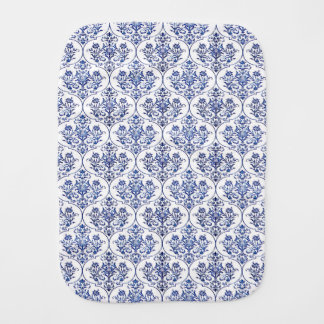 Flourish Damask Pattern - blue Burp Cloth