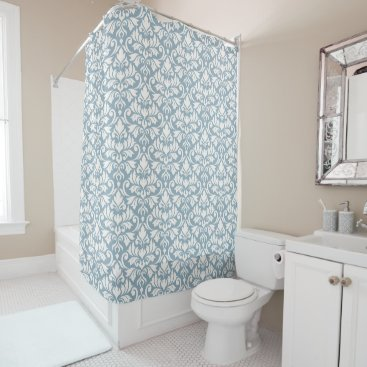 Beach Themed Flourish Damask Pattern Cream on Blue Shower Curtain
