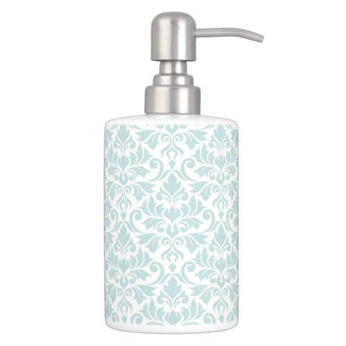 Flourish Damask Pattern Duck Egg Blue on White Soap Dispenser And Toothbrush Holder