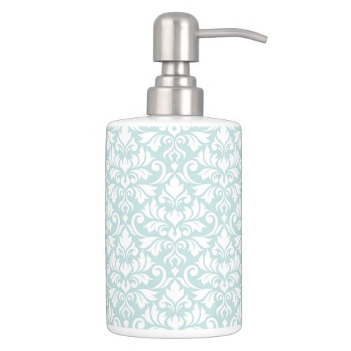 Flourish Damask Pattern White on Duck Egg Blue Bathroom Set