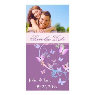 """Flourish de la mariposa/foto """"reserva la fecha """" plantilla para tarjeta de foto"""