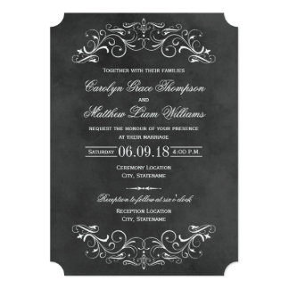 Flourish de la pizarra de las invitaciones el | invitación 12,7 x 17,8 cm