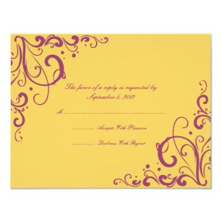 """Flourish de la púrpura y del amarillo que casa invitación 4.25"""" x 5.5"""""""