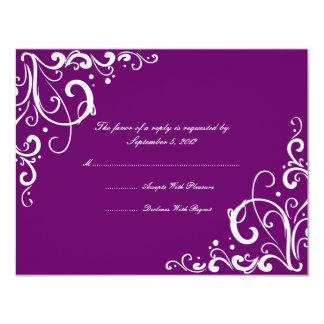 """Flourish de la púrpura y del blanco que casa RSVP Invitación 4.25"""" X 5.5"""""""