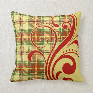 Flourish de la tela escocesa por la manzana cojín