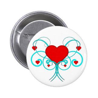 Flourish de los corazones pin redondo 5 cm