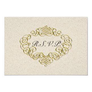 Flourish de oro que casa RSVP Invitación 8,9 X 12,7 Cm