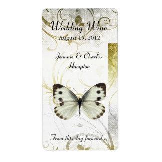 Flourish de oro y mariposa que casan el mini vino etiquetas de envío