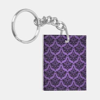 Flourish del damasco del vintage púrpura y negro llavero