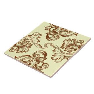 Flourish del vintage (marrón claro) azulejo cuadrado grande