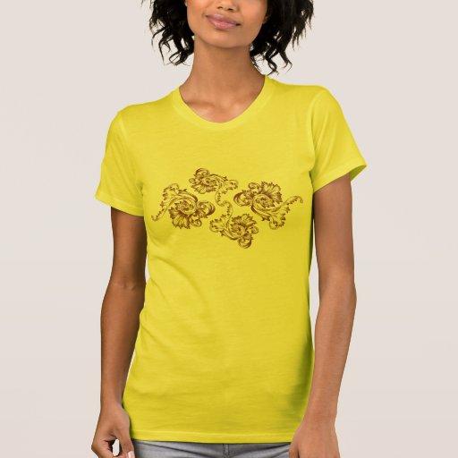 Flourish del vintage (marrón claro) camisetas