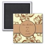 Flourish del vintage (marrón claro) imanes de nevera