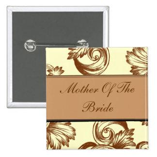 Flourish del vintage (marrón claro) pin cuadrada 5 cm