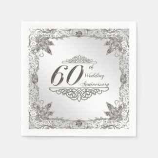 Flourish Diamond 60th Anniversary Paper Napkin