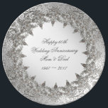 """Flourish Diamond 60th Anniversary Porcelain Plate<br><div class=""""desc"""">A Digitalbcon Images Design featuring a platinum silver color and flourish diamond design theme with a variety of custom images, shapes, patterns, styles and fonts in this one-of-a-kind &quot;Flourish 60th Diamond Wedding Anniversary&quot; Throw Pillow. This elegant and attractive design comes complete with customizable text lettering to suit your own special...</div>"""