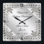 "Flourish Diamond 60th Wedding Anniversary Clock<br><div class=""desc"">A Digitalbcon Images Design featuring a platinum silver color and flourish diamond design theme with a variety of custom images, shapes, patterns, styles and fonts in this one-of-a-kind &quot;Flourish Diamond 60th Anniversary&quot; Coaster. This elegant and attractive design comes complete with customizable text lettering to suit your own special occasion. COMPLETE...</div>"