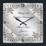 """Flourish Diamond 60th Wedding Anniversary Clock<br><div class=""""desc"""">A Digitalbcon Images Design featuring a platinum silver color and flourish diamond design theme with a variety of custom images, shapes, patterns, styles and fonts in this one-of-a-kind &quot;Flourish Diamond 60th Anniversary&quot; Coaster. This elegant and attractive design comes complete with customizable text lettering to suit your own special occasion. COMPLETE...</div>"""