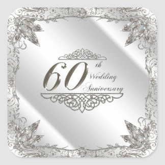 Flourish Diamond 60th Wedding Anniversary Stickers