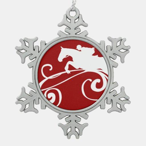 Flourish ecuestre inglés adorno de peltre en forma de copo de nieve