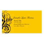 Flourish elegante amarillo y negro tarjetas de visita
