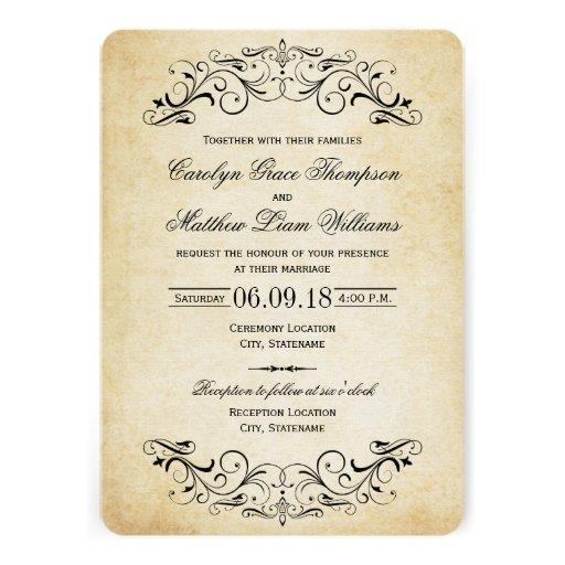 Flourish elegante de las invitaciones el | del bod invitaciones personalizada