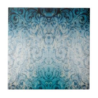 Flourish elegante descolorado azulejo cuadrado pequeño