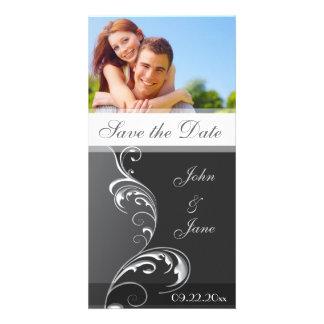 """Flourish elegante /photo """"reserva la fecha """" tarjetas fotográficas"""
