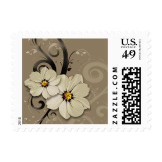 Flourish floral adornado el de color topo sello