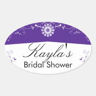Flourish floral blanco púrpura del personalizar colcomanias oval personalizadas