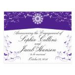 Flourish floral blanco púrpura del personalizar postal