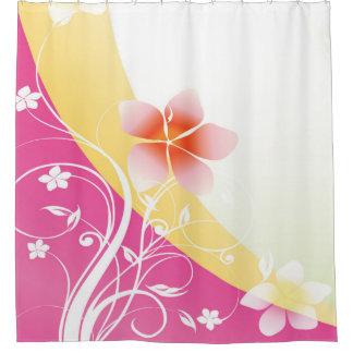 Flourish floral rosado y amarillo bonito cortina de baño