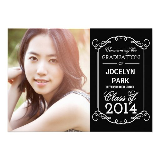 Flourish Frame Graduation Invitation (front side)