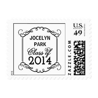 Flourish Frame Graduation Postage Stamp - White Postage Stamp