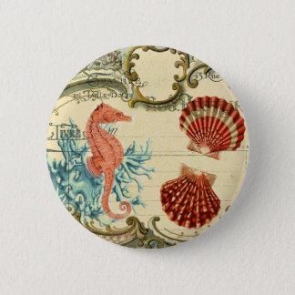 flourish french modern vintage seashell seahorse pinback button