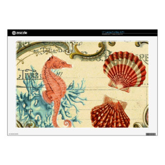 "flourish french modern vintage seashell seahorse skin for 17"" laptop"