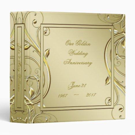 Flourish Gold 50th Wedding Anniversary 3 Ring Binder