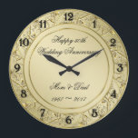 """Flourish Gold 50th Wedding Anniversary Large Clock<br><div class=""""desc"""">A Digitalbcon Images Design featuring a gold color and flourish design theme with a variety of custom images, shapes, patterns, styles and fonts in this one-of-a-kind """"Flourish Gold 50th Wedding Anniversary"""" Round Wall Clock. This elegant and attractive design comes complete with customizable text lettering to suit your own special occasion....</div>"""