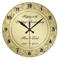 Flourish Gold 50th Wedding Anniversary Large Clock