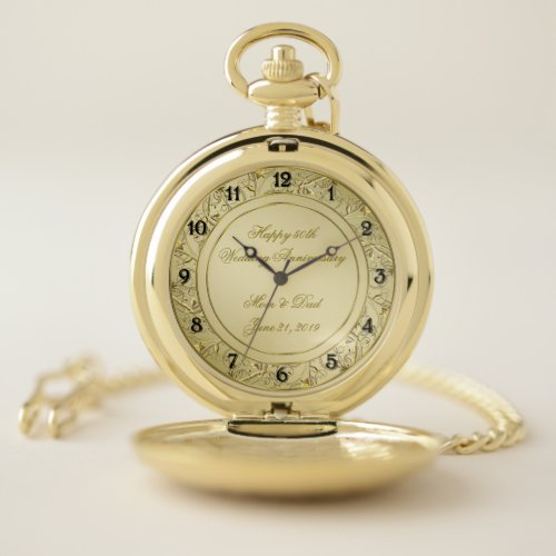 Flourish Gold 50th Wedding Anniversary Pocket Watch