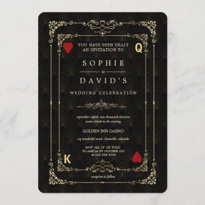 Flourish Gold Art Deco Casino Vegas Poker Wedding Invitation