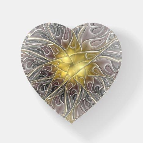 Flourish Gold Modern Abstract Fractal Flower Heart Paperweight