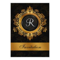 flourish gold monogram elegant wedding Invitations