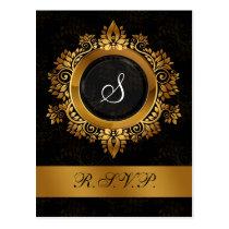 flourish gold monogram elegant wedding RSVP Postcard