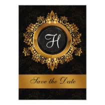 flourish gold monogram wedding save the date card