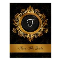 flourish gold monogram wedding save the date postcard