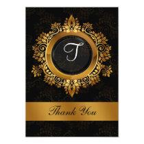 flourish gold monogram wedding thank you card