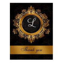 flourish gold monogram wedding thank you postcard