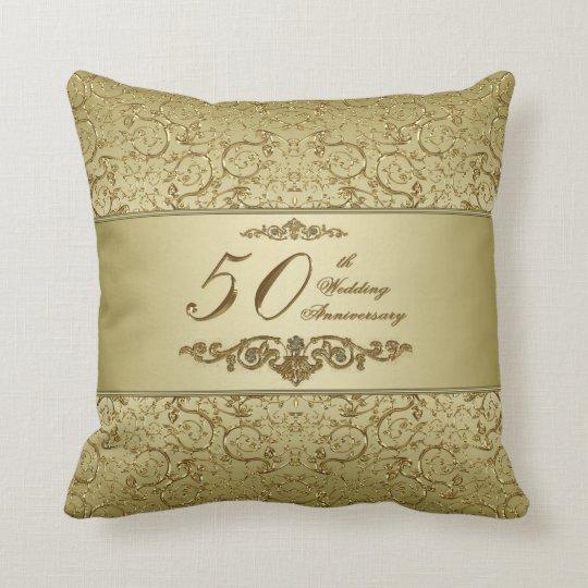 50th Wedding Anniversary Gift Etiquette: Flourish Golden 50th Wedding Anniversary Throw Pillow