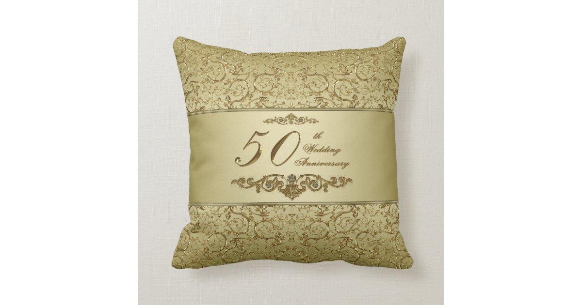 50th Wedding Anniversary Gift Pillows: Flourish Golden 50th Wedding Anniversary Throw Pillow