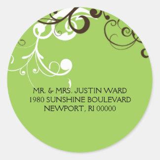 flourish; green address classic round sticker